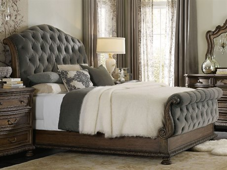 Hooker Furniture Rhapsody Rustic Walnut with Deep Grey King Size Tufted Sleigh Bed HOO507090566AGRY