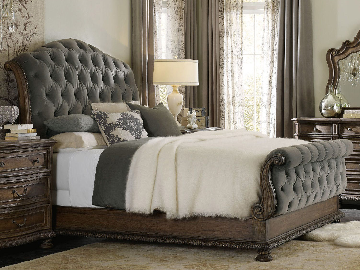Hooker furniture rhapsody rustic walnut with deep grey - King size sleigh bed bedroom set ...