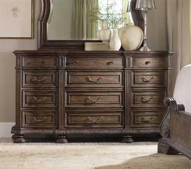 Hooker Furniture Rhapsody Rustic Walnut Triple Dresser & Mirror Set