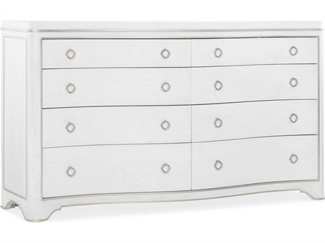 Hooker Furniture Modern Romance Textured Lacquered White / Champagne Eight-Drawers Double Dresser