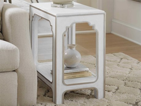 Hooker Furniture Modern Romance Textured Lacquered White / Champagne 24'' Wide Rectangular End Table