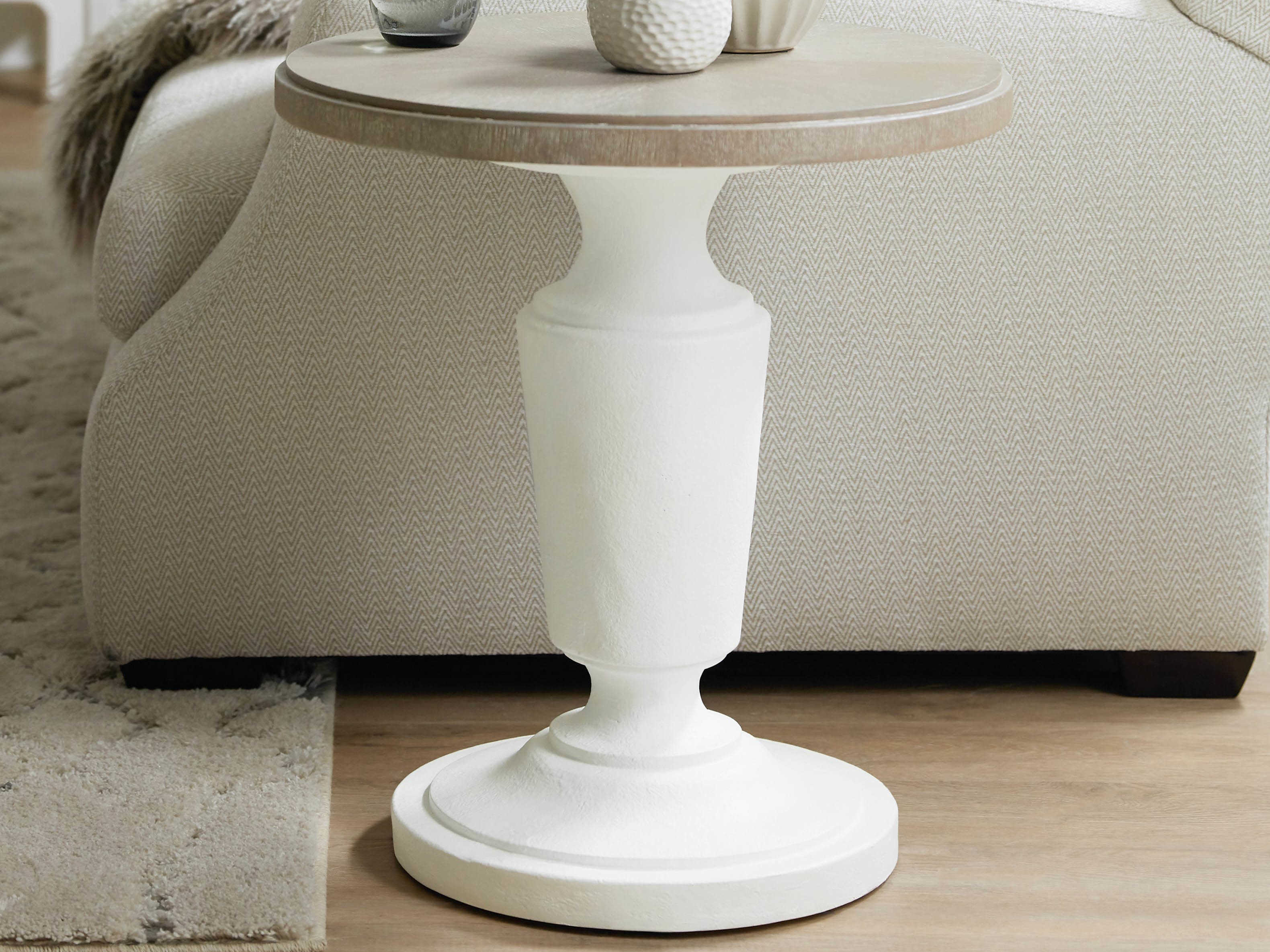 Furniture Modern Romance Taupe Grey Opaque Textured White 22 Wide Round Pedestal Table