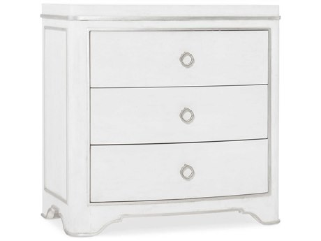 Hooker Furniture Modern Romance Textured Lacquered White / Champagne 3 Drawers Nightstand
