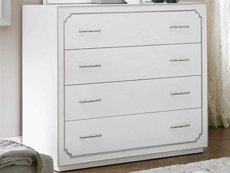 Hooker Furniture Modern Romance Textured Lacquered White / Champagne 4 Drawers Dresser