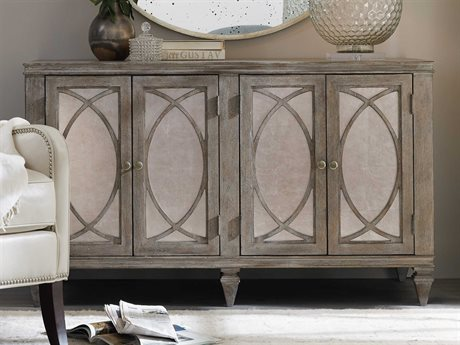 Hooker Furniture Rustic Glam Light Wood with Eglomise Glass 52''L x 235''W Rectangular Credenza HOO164110464LTWD