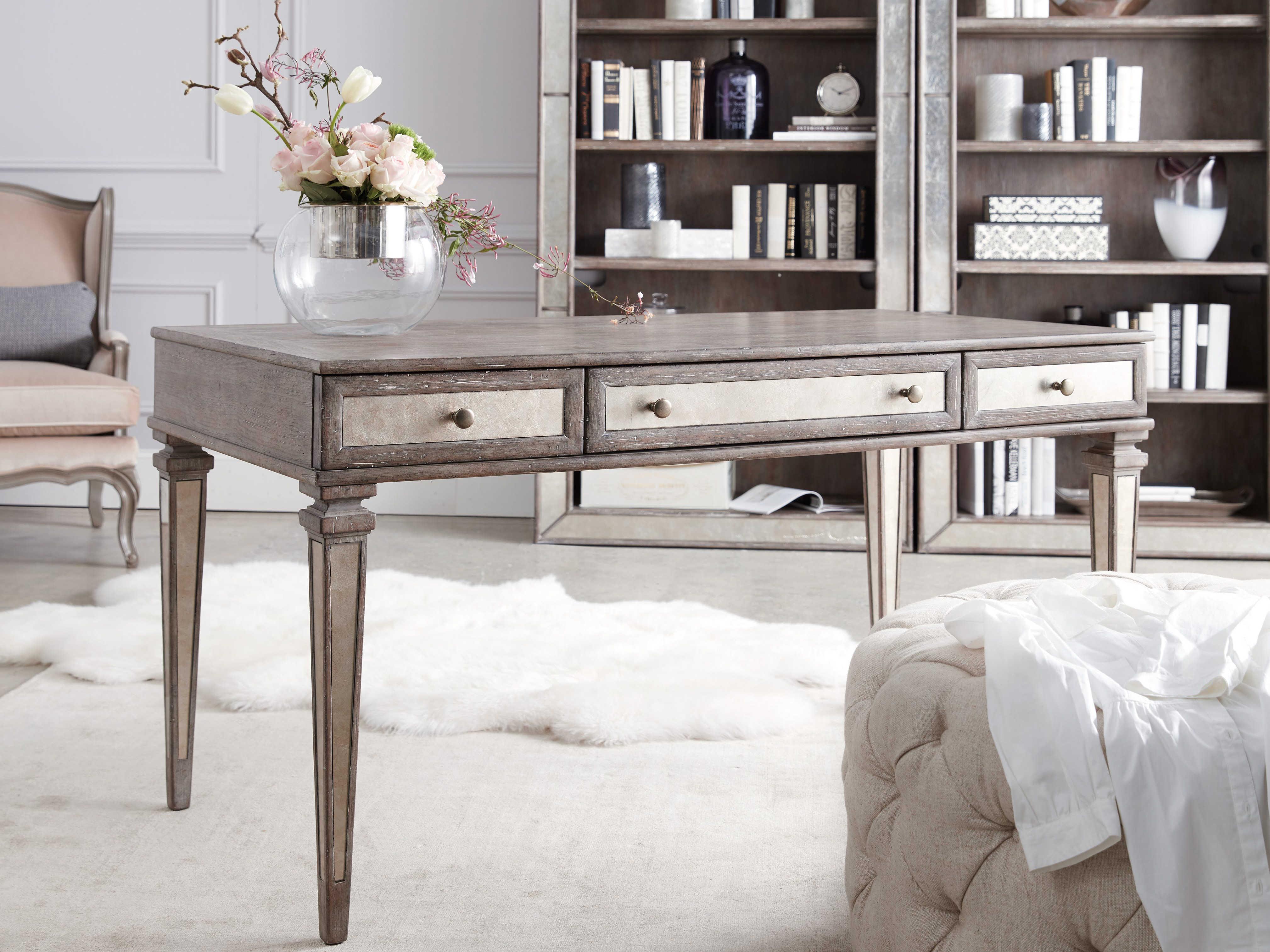 Furniture Rustic Glam Light Wood 54 L X 29 W Rectangular Writing Desk