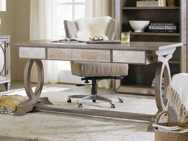 Furniture Rustic Glam Light Wood 64 L X 30 W Rectangular Trestle Secretary Desk