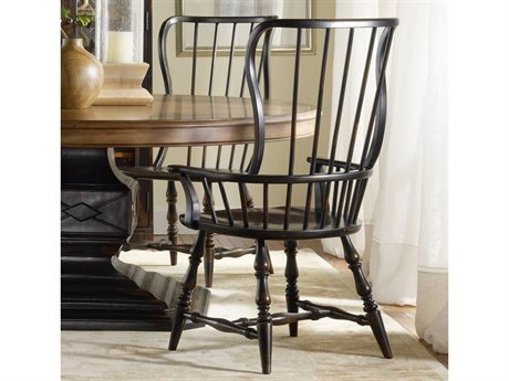 Hooker Furniture Sanctuary Spindle Ebony Dining Arm Chair (Sold in 2) HOO300575300