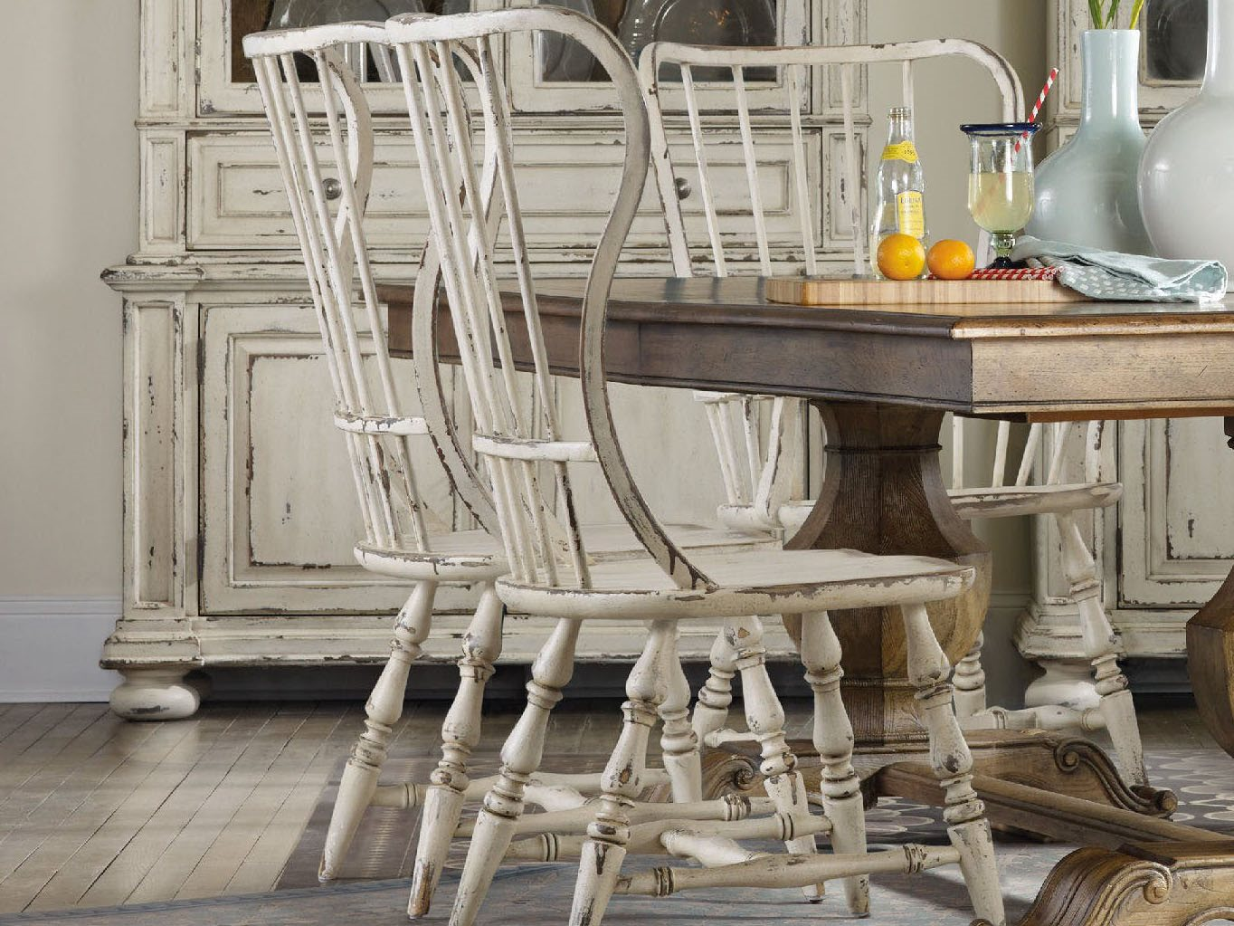 Furniture Sanctuary Vintage Chalky White Spindle Back Dining Side Chair