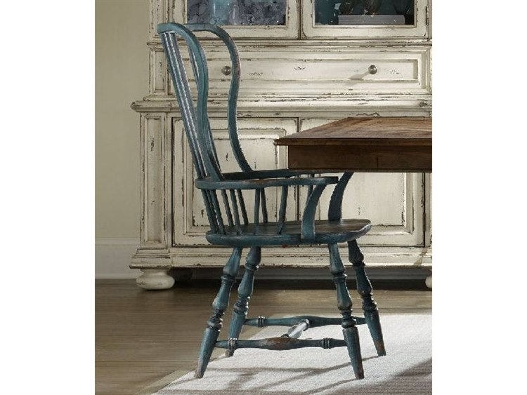 Hooker Furniture Sanctuary Sky High Azure Blue Spindle Dining Arm Chair 5405 75300