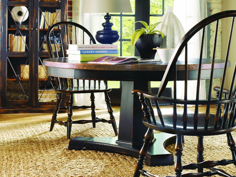 Hooker Furniture Sanctuary Ebony 48\'\' Wide Round Pedestal Dining Table