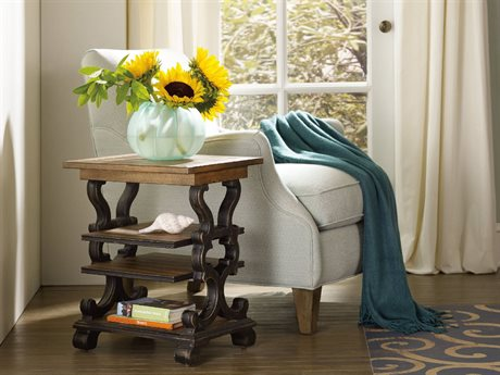 Hooker Furniture Sanctuary Antique Hickory with Antique Coffee 18''L x 15''W Rectangular Accent End Table