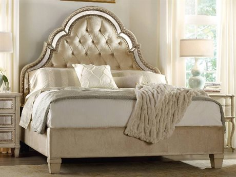 Hooker Furniture Sanctuary Pearl Essence Queen Size Tufted Platform Bed HOO302390850