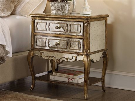 Hooker Furniture Sanctuary Bling - A Deep, Rich Gold Accented By Leafing 2 Drawers Nightstand