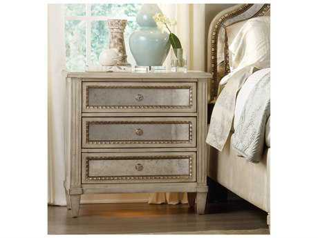 Hooker Furniture Sanctuary Pearl Essence- A Creamy Wood Grain With Mirror And Pearlescent Accents In Soft Silvery Gold 3 Drawers Nightstand