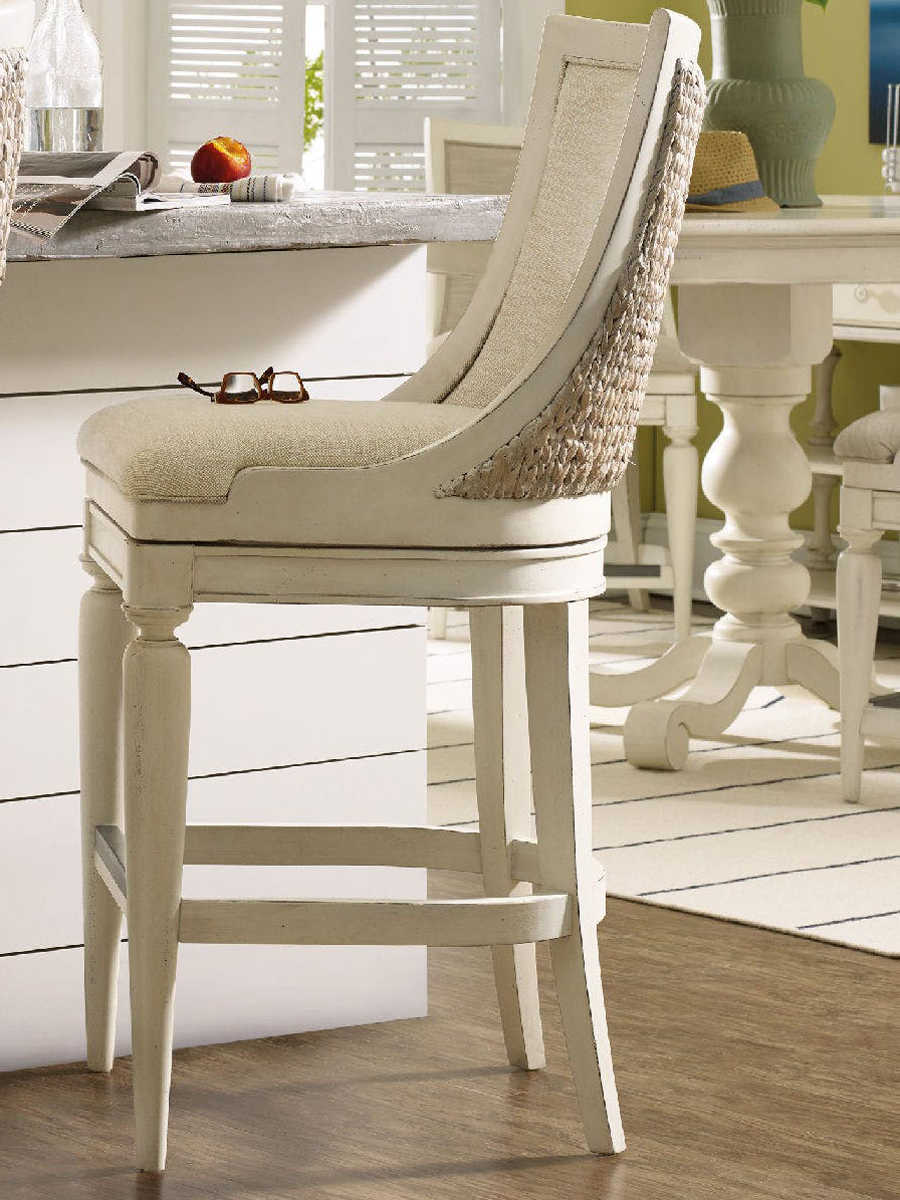 Furniture Sandcastle Creamy Couture White Side Swivel Bar Height Stool