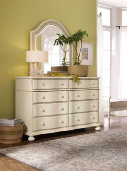 Hooker Furniture Sandcastle White Eight-Drawers Double Dresser with Wall Mirror
