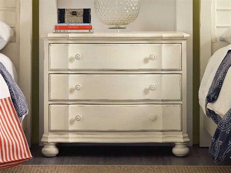 Hooker Furniture Sandcastle White 38''W x 19''D Rectangular Three-Drawer Bachelor Chest Nightstand