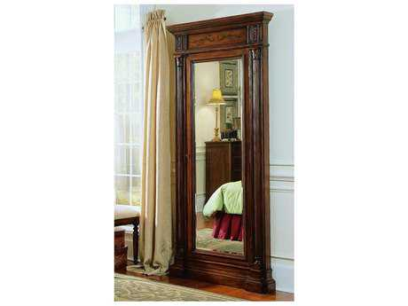 Hooker Furniture Dark Wood 40''W x 85''H Rectangular Floor Mirror with Jewelry Armoire Storage HOO50050558