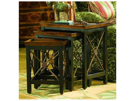 Hooker Furniture Black 22''L x 15''W Rectangular Nesting Table with Medallion Motif HOO50050683
