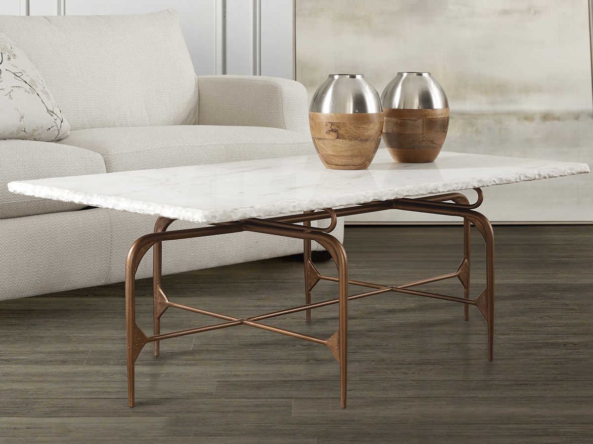 Furniture Skinny White Marble Gold 52 Wide Rectangular Coffee Table