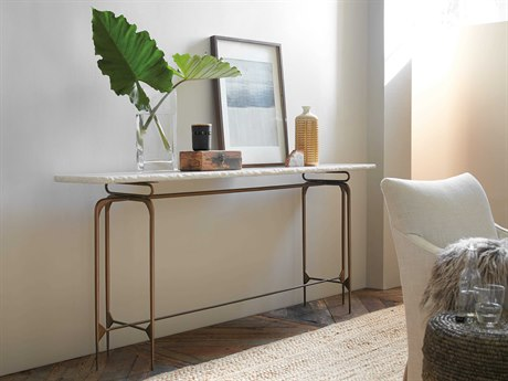 Hooker Furniture Skinny White Marble with Dark Bronze 80''L x 16''W Rectangular Console Table HOO563385001WH