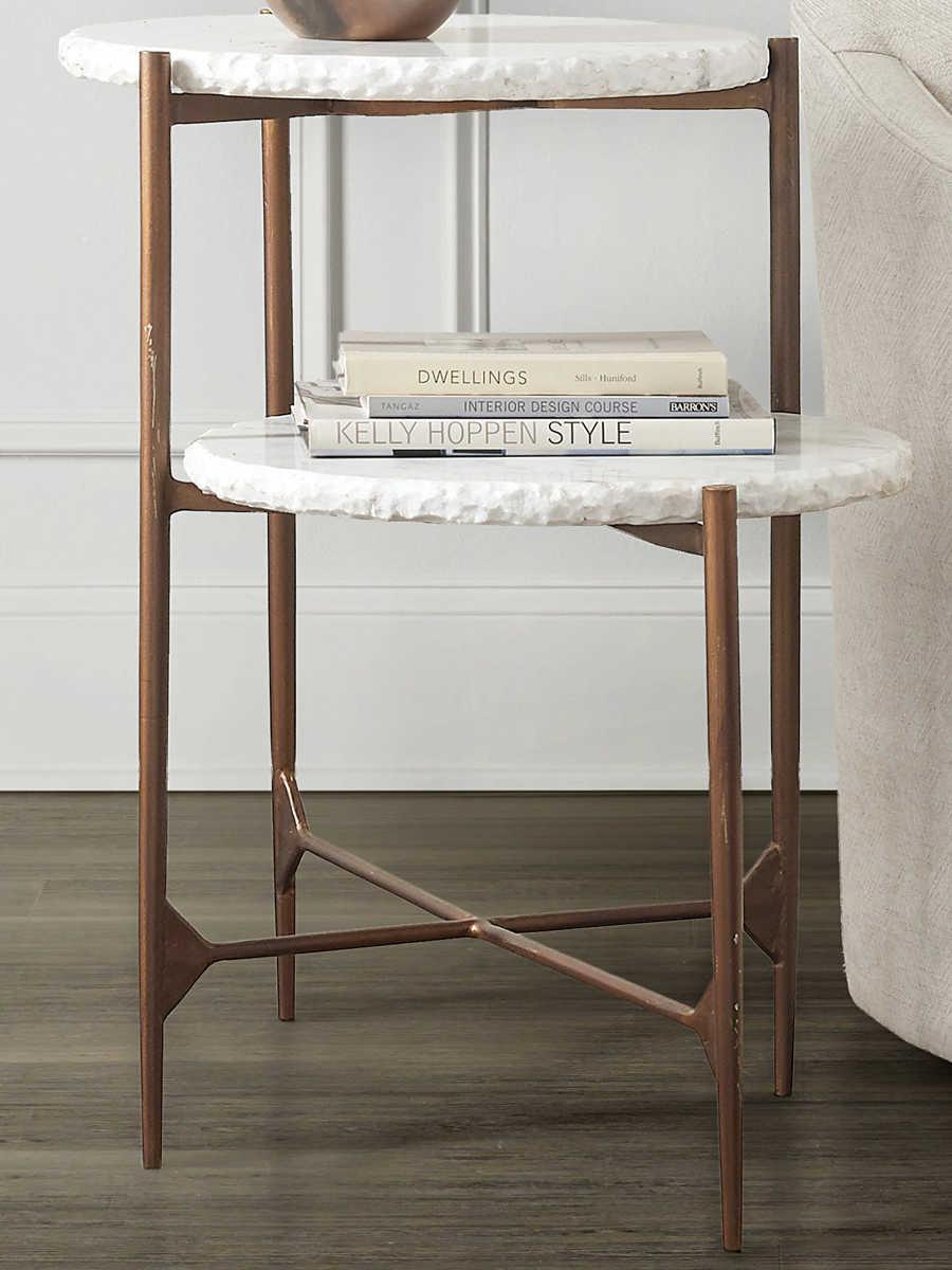 Hooker Furniture Skinny White Marble / Gold 18u0027u0027 Wide Round End Table 5633   ...