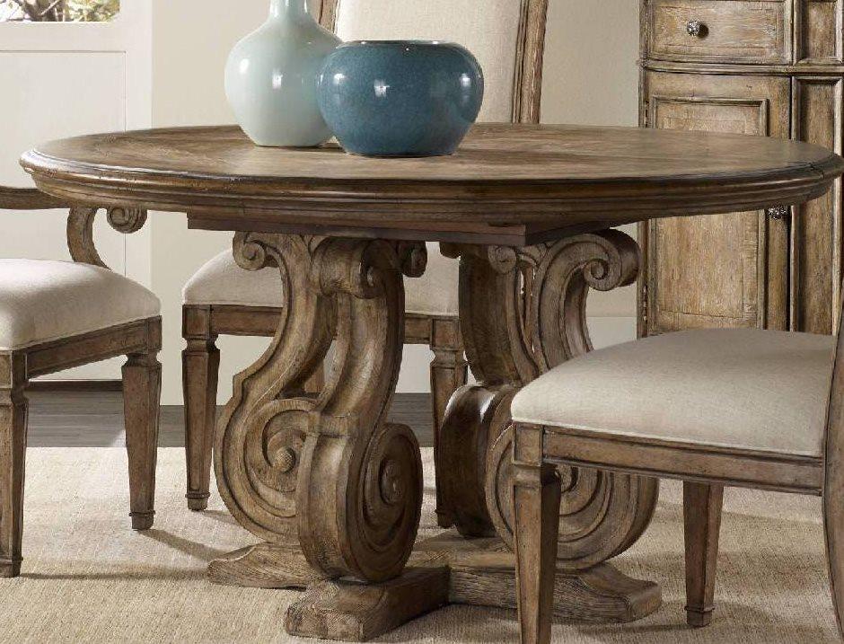 Hooker Furniture Solana Light Wood 54\'\' Wide Round Pedestal Dining Table