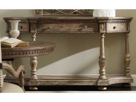 Hooker Furniture Sorella Taupe Antique 74''L x 16''W Demilune Console Table