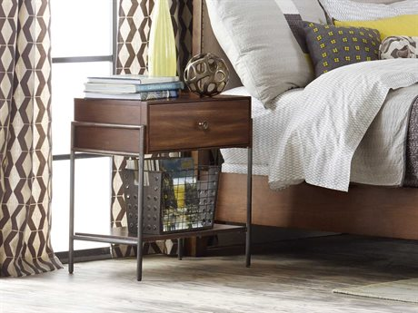Hooker Furniture Studio 7h Rustic Chic- It Is Not About Geography, Chic Happens Everywhere. New Designed And Made With A Reclaimed Vibe. All Finishes Meet In - The Mid-century Modern Walnut Scandinavian Weathered Plus Metal Leather On Select Pieces Are Also Lively Mix. 1 Drawer Nightstand
