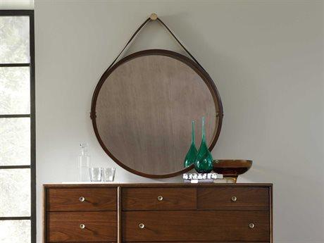 Hooker Furniture Studio 7H Low-sheen Walnut 36'' Wide Round Wall Mirror
