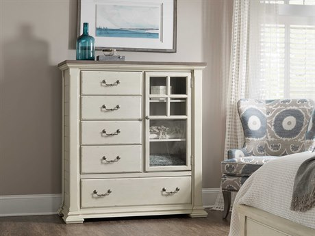 Hooker Furniture Sturbridge Distressed Cream with Grey 51''W x 19.5''D Rectangular Five-Drawer Asymmetrical Chest of Drawers