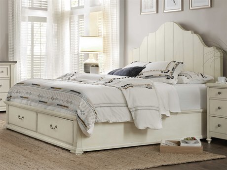 Hooker Furniture Sturbridge Distressed Cream Queen Size Panel Bed with Storage
