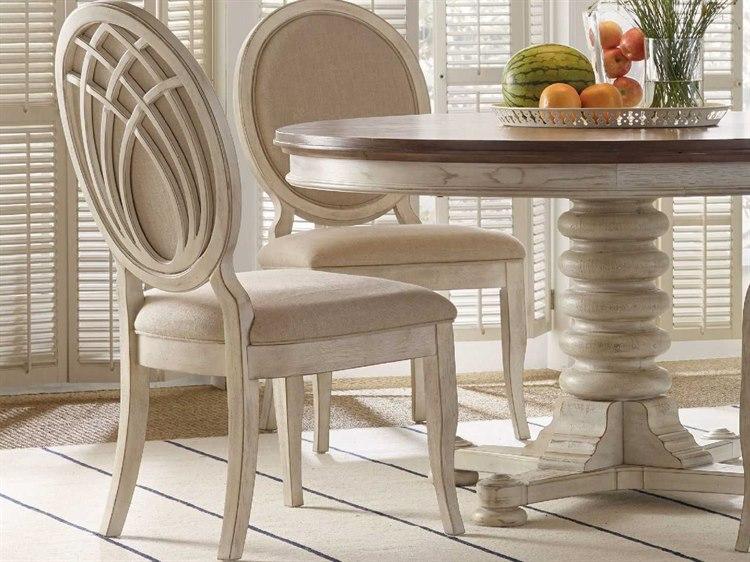 Furniture Sunset Point Lockram Linen White Dining Side Chair