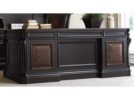 Hooker Furniture Telluride Black Finish With Reddish Brown Rub-through Executive Desk HOO37010363