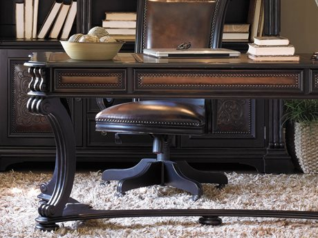 Hooker Furniture Telluride Black Finish With Reddish Brown Rub-through Secretary Desk HOO37010459