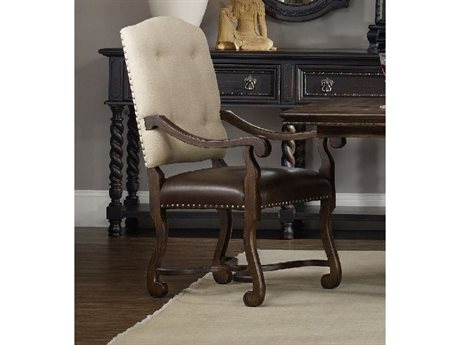 Hooker Furniture Treviso Camelback Rich Tobacco Dining Arm Chair HOO547475500
