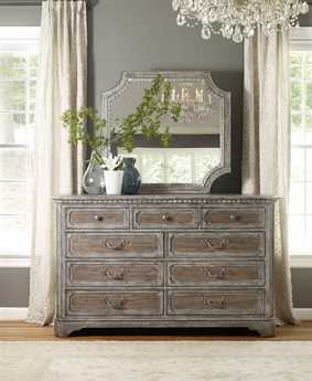 Hooker Furniture True Vintage Soft Driftwood Double Dresser & Mirror Set