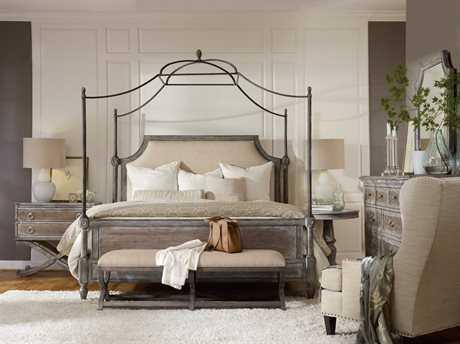 Hooker Furniture True Vintage Upholstered Canopy Bed Bedroom Set HOO570190150SET
