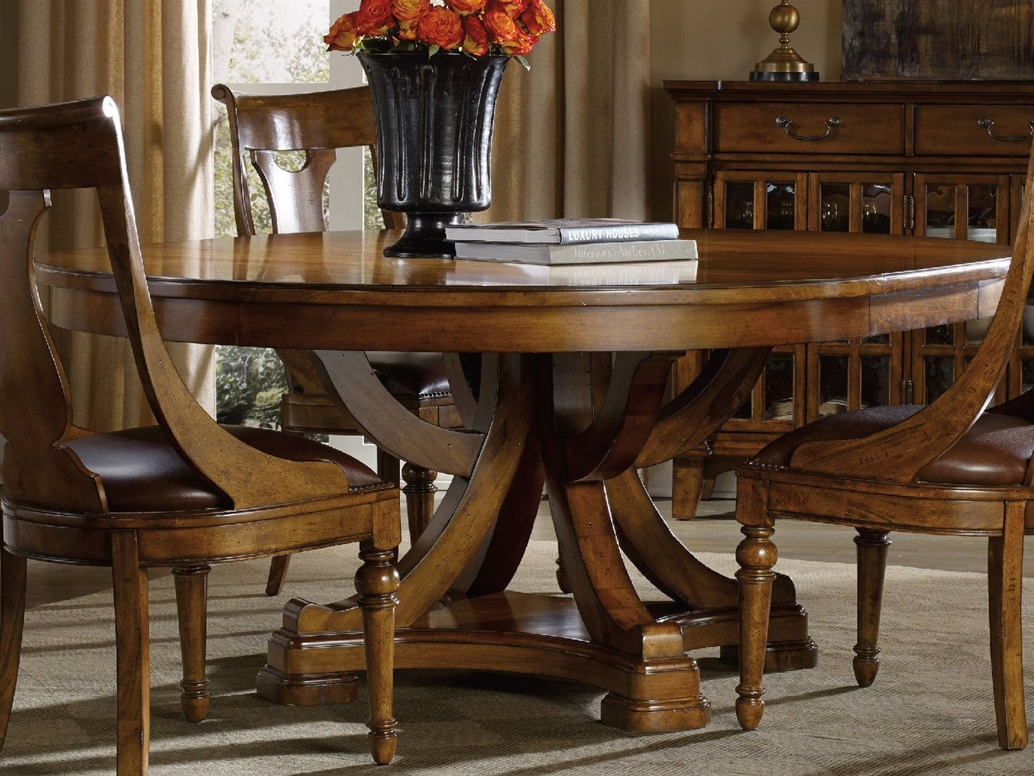 Furniture Tynecastle Medium Wood 60 Wide Round Pedestal Dining Table