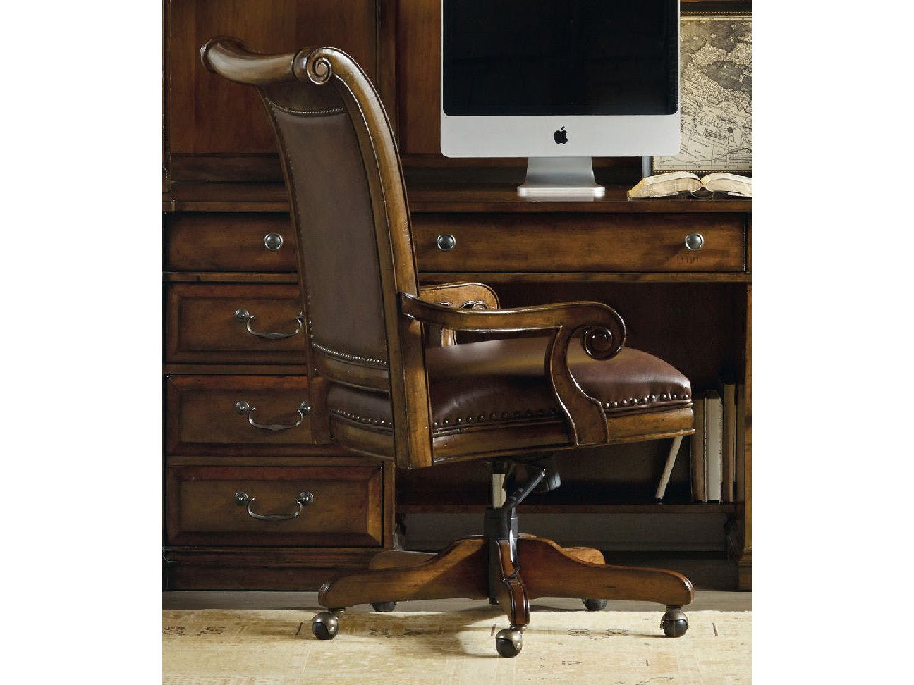 Hooker Furniture Tynecastle Medium Wood Computer Tilt Swivel Executive Chair