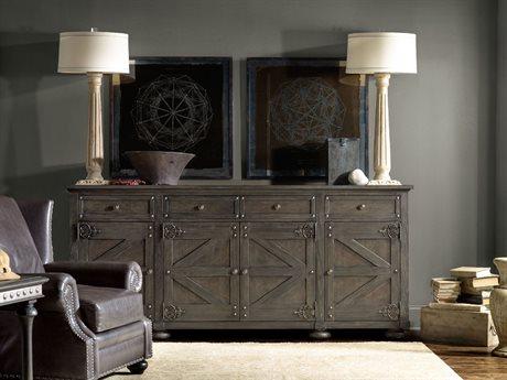 Hooker Furniture Vintage West Dramatic Dark Charcoal 96''L x 20''W Rectangular Storage Credenza Buffet HOO570085001