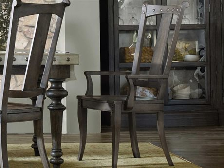 Hooker Furniture Vintage West Splatback Dramatic Dark Charcoal Dining Arm Chair