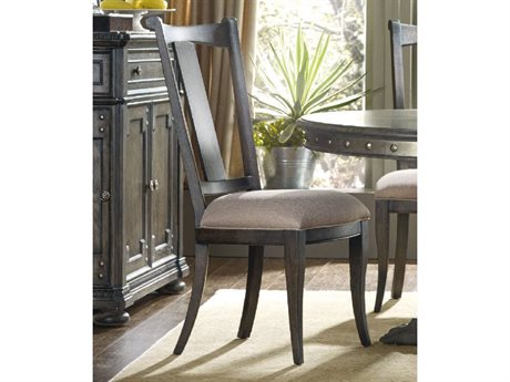 Hooker Furniture Vintage West Dramatic Dark Charcoal Finish With Decorative Nail Trim Side Dining Chair