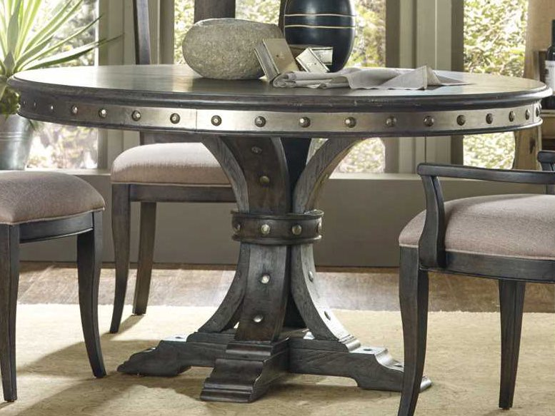 Hooker Furniture Vintage West Dramatic Dark Charcoal 54\'\' Wide Round Dining  Table