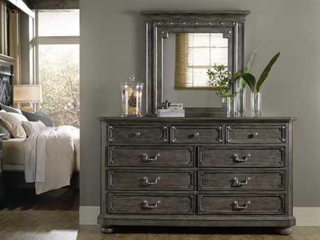 Hooker Furniture Vintage West Dramatic Dark Charcoal Double Dresser & Mirror Set