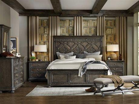 Hooker Furniture Vintage West Wood Panel Bed Bedroom Set HOO570090266SET