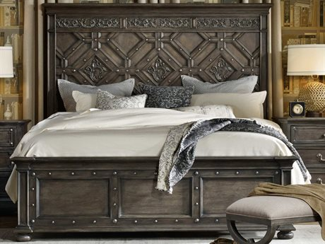 Hooker Furniture Vintage West Dramatic Dark Charcoal King Size Panel Bed HOO570090266