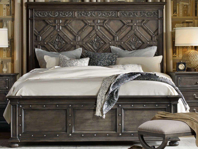 King Size Vintage.Hooker Furniture Vintage West Dramatic Dark Charcoal King Size Panel Bed
