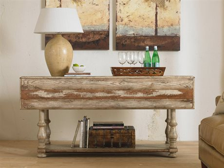 Hooker Furniture Wakefield Taupe with Cherry & Pine 66''L x 45''W Rectangular Drop Leaf Console Table